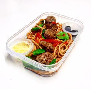 Spicy Meatballs in meal container
