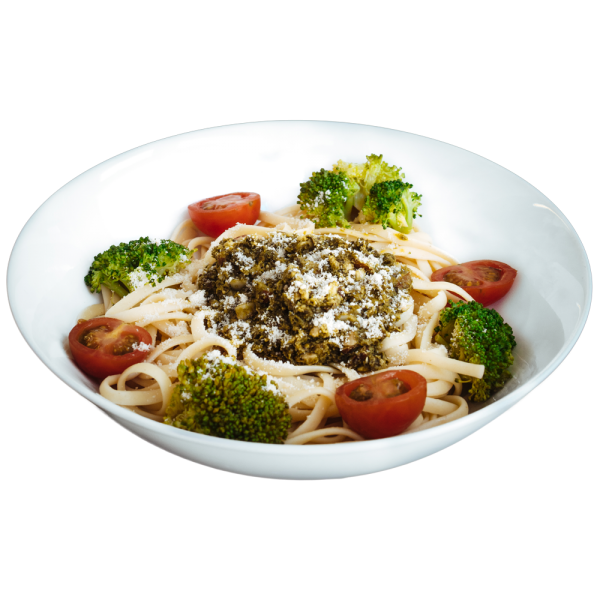Linguini with Almond & Green Pesto - diet meal