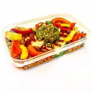 Halloumi Pesto in meal container