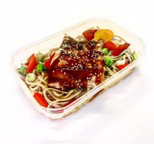Teriyaki Glazed Salmon in meal container