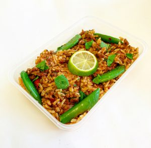 Thai Spiced Beef and Rice in Meal Prep Tray