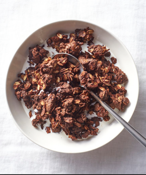 Bowl of healthy chocolate clusters cereal for delivery