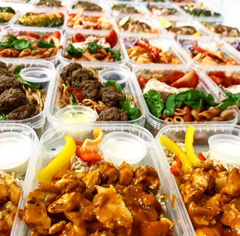 Trays of diet meals for diet meal delivery