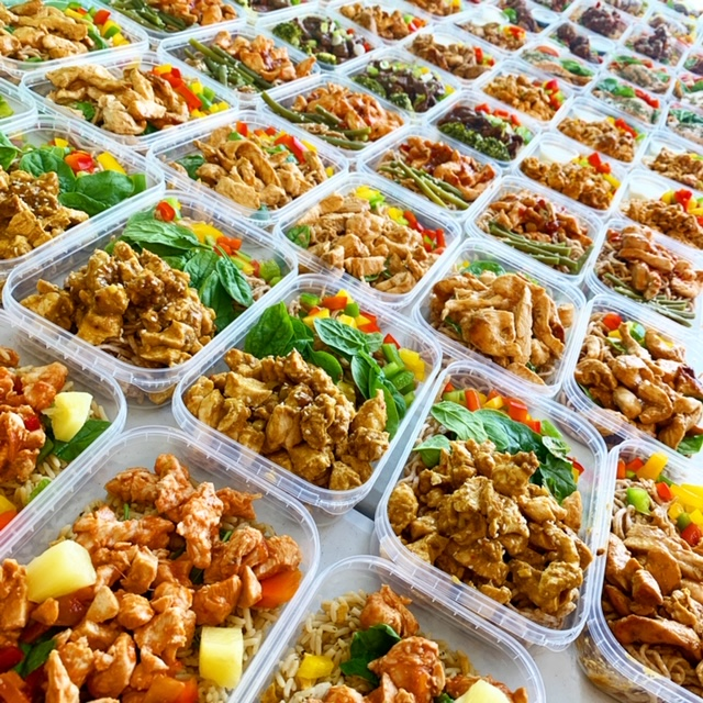 Healthy diet meals in meal prep trays