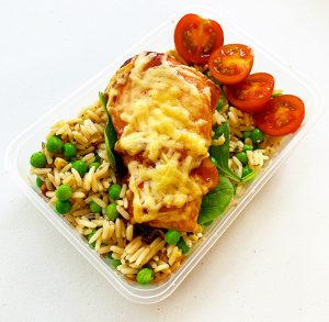 Hunters Chicken in meal prep tray healthy